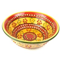 Hand-painted Round Bowl in Red - Encantada