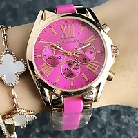 MK Popular Women Personality Ceramic Wristwatch Business Quartz Watch Rose Red I13277-1