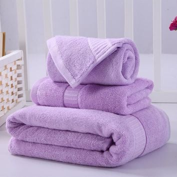 Adults 3-Piece Bamboo and Cotton Blended Fiber,  High Absorbent, Bath and Face Towel Sets. Colors to Choose From are Red,Yellow,Green, Violet, Orange, Brown, Khaki, Blue, and Pink