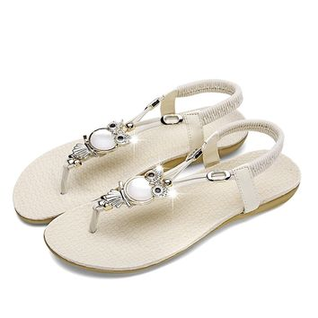 810b902f1f6195 Best Product Best Service Womens Sandals Flat Bohemia Style Gem. Leather  Rubber sole Rubber sole Summer Style Cute Owl Sandals Elastic T-strap ...