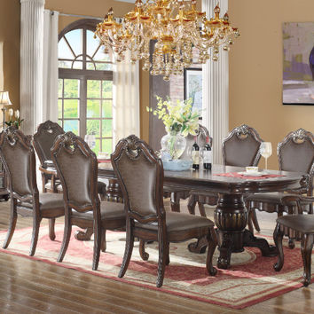 Mc Ferran MF-D3500-7PC 7 pc Chester rich brown finish wood double pedestal dining table set