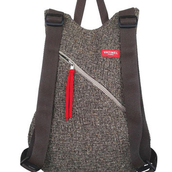 Brown tweed backpack, travel backpack, women / AMSTERDAM