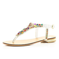 River Island Womens White gem stone embellished T bar sandals