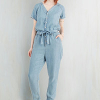 70s Long Short Sleeves Tapered Leg Artful Outing Jumpsuit by Dittos from ModCloth