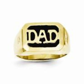 10k Yellow Gold Men's Diamond and Black Onyx DAD Ring