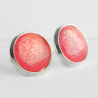 Pink Berry Earrings in Silver - Bright Pink with Golden Shimmer Studs