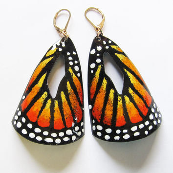 Big Monarch Butterfly Earrings in Orange Enamel - Statement Jewelry - Lever Back Wires