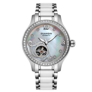 Muhsien women's watch fashion ceramic small dial fully-automatic mechanical watch stainless steel cutout waterproof watch