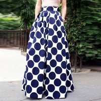 Blue Color Block Polka Dot Print High Waist Skirt