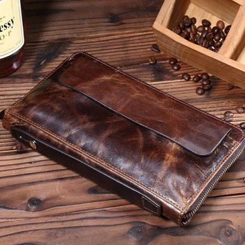 CREYONV mens retro genuine leather long wallet handmade card hold purse gift 08 2