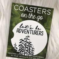 Let's Be Adventurers Car Coasters On The Go