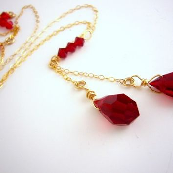 Red Gold Necklace, Siam Necklace, Red Crystal Drop, Swarovski and Gold Necklace, Handmade, Gold Filled Jewelry, Red Wedding Necklace, Bridal