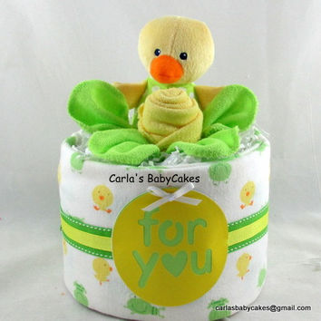 Neutral diaper cake, Baby Diaper Cake, Baby Shower Gift, New Baby Gift, New Mom Gift, Mom to be Gift, Yellow diaper cake, Duck baby shower
