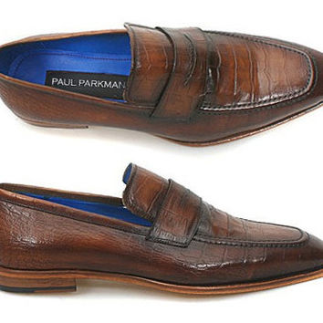 Paul Parkman Men's Shoes Loafer Brown Croco Embossed Leather Upper & Leather Sole