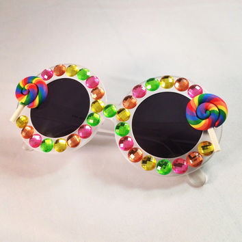 Clear Round Sunglasses Embellished w/Rhinestones and Rainbow Lollipops. Perfect festival sunnies!