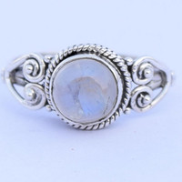 Rainbow Moonstone Ring, Sterling Silver Rainbow  Ring, Blue Flash Moonstone Jewelry, Birthday Gift Idea , Gift For Her , US Size 5 6 7 8 9