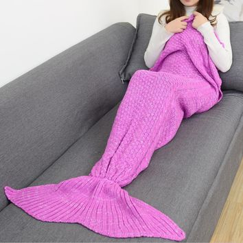 Winter Spring Warm Handmade Knitted Mermaid Sofa Blanket Home Baby Children Adult Roses