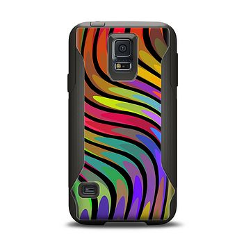 The Swirly Color Change Lines Samsung Galaxy S5 Otterbox Commuter Case Skin Set