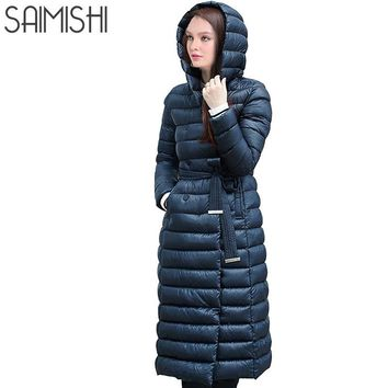 Snow Winter Down Jacket Women Coat Anorak 90 % White Duck Down with Belt Longer Knee Women's Hooded Double Breasted Jackets