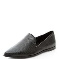 Black Croc Pointed Loafers