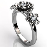 14k white gold diamond unique floral three stone engagement ring, bridal ring, wedding ring ER-1057-1