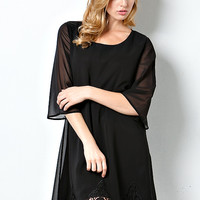 Black Shift Dress with Baroque Lace Hem