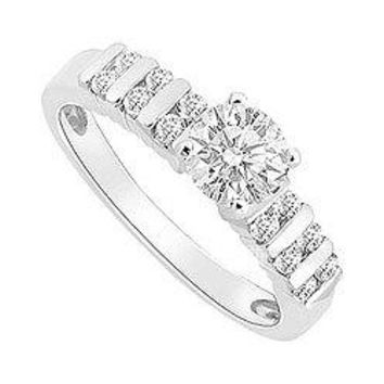 14K White Gold Semi Mount Engagement Ring with 0.50 Carat Diamonds Center Diamond Not Included
