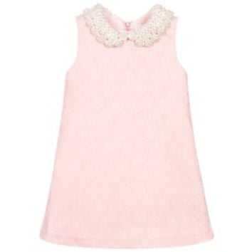 Girls Pink Dress with Pearl Collar