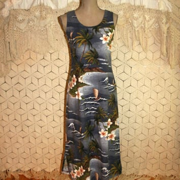 Vintage Hawaii Dress Beach Dress Sleeveless Summer Dress Cotton Dress Luau Dress Tropical Vacation Hilo Hattie Size 6 Small Womens Clothing