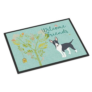 Welcome Friends Black Bull Terrier Indoor or Outdoor Mat 18x27 BB7604MAT