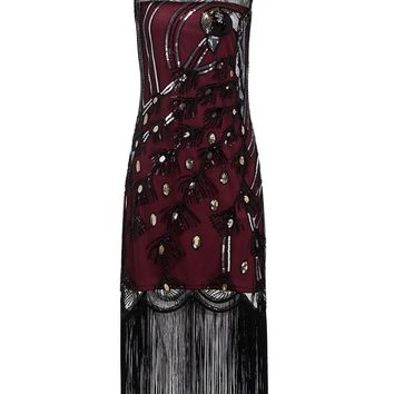 Wine Red 1920s Peacock Flapper Dress