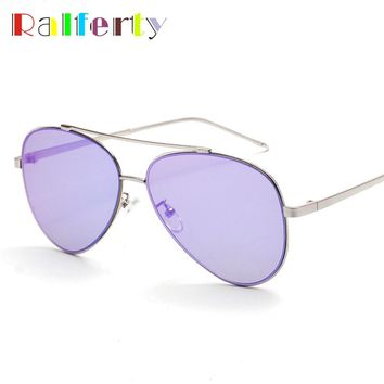 Ralferty Trendy Designer Aviation Pilot Sunglasses Women Mirrored Sun Glasses For Men Oval Frame Sunglases lunette oculos 1721