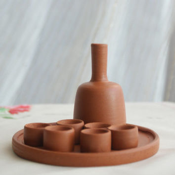 Handmade Clay Minature Liquor Set (8 pieces)
