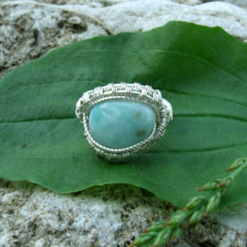 Wire Wrap Ring Larimar 925 Sterling Silver Size 6 Handmade Heady Jewelry