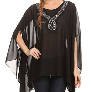 Modern Kiwi Sequin Your Love Embellished Chiffon Caftan Poncho Tunic