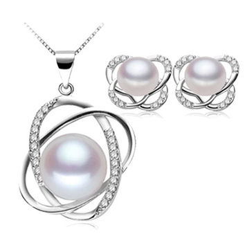 Natural pearl jewelry set for women