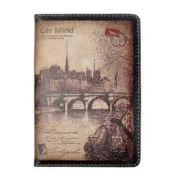 Unisex Vintage Leather Cite Island Travel Passport Cover Holder