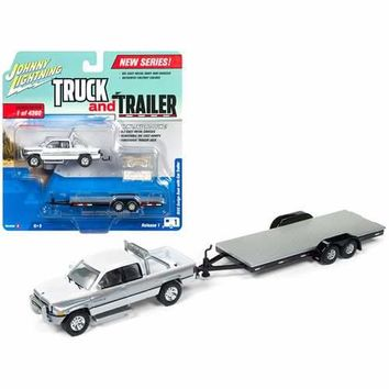 "1996 Dodge Ram White and Silver with Car Trailer Limited Edition to 4360 pieces Worldwide ""Truck and Trailer"" Series 1 1/64 Diecast Model Car by Johnny Lightning"