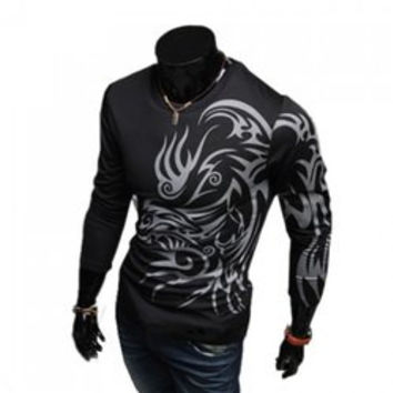 Western Style Special Tattoo Print Round Neck Long Sleeve T-Shirt For Men