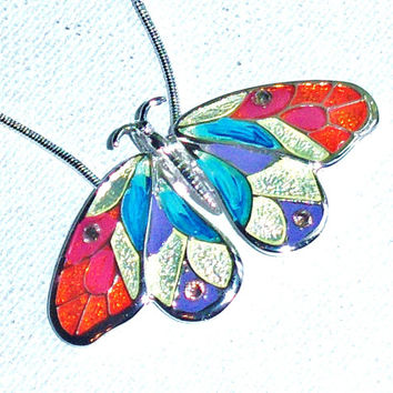 Butterfly Necklace Colorful Hand Painted Pendant Silver Whimsical Bohemian Necklace