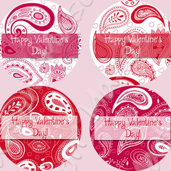 "Happy Valentine's Day Pink, Red, Fuschia and White Paisley  Labels Mason Jars or Gift Tags  - 2"" or 2.5"" round labels"