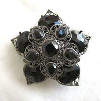 Vintage MONET Black Glass Layered & Domed Flower Brooch