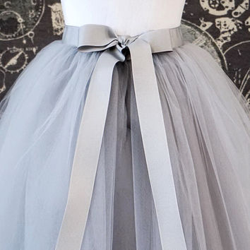Gray Tulle Skirt - Adult Knee Length Tutu with Ribbon Waist and Ties for Bridesmaids, Photo shoots or Everyday - Custom Size