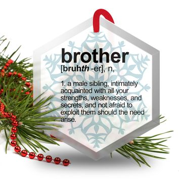 Brother Definition Funny Glass Christmas Ornament