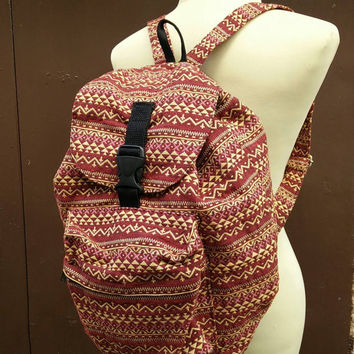 Backpack Aztec Boho Tribal rucksack fabric festival bags Travel bag Hippies Ethnic Hobo Styles Hipster Pattern Beach School Messenger in red