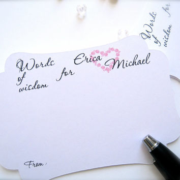 Wedding advice cards,words of wisdom for the bride and groom, best wishes cards - 25 count