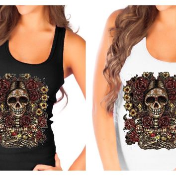 Fashion Vixen Tattoo Style Day of the Dead Skull Tank Top S M L XL Plus Size 1X 2X 3X 4X 5X