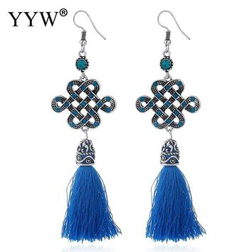 Fashion Vintage Earrings for Women Jewelry Women Earrings with Chinese Knot Bohemian Long Tassel Drop Earrings Dangle Brincos