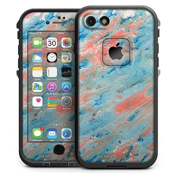 Abstract Wet Paint Coral Blues - iPhone 7 LifeProof Fre Case Skin Kit