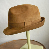 Vintage Brown Suede Leather Trilby Fedora Hat German Style UK 7 1/8